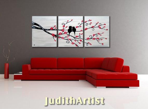 Love Birds Original Abstract HUGE 54x24 Landscape by studiox26, $255.00