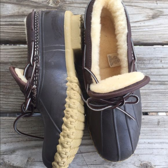 HP 2/7 LL Bean Duck Boots Only worn one time to try one! So incredibly cute and perfect for this time of year. Super thick warm lining on the inside. No trades or Paypal. Offers welcome! L.L. Bean Shoes Winter & Rain Boots