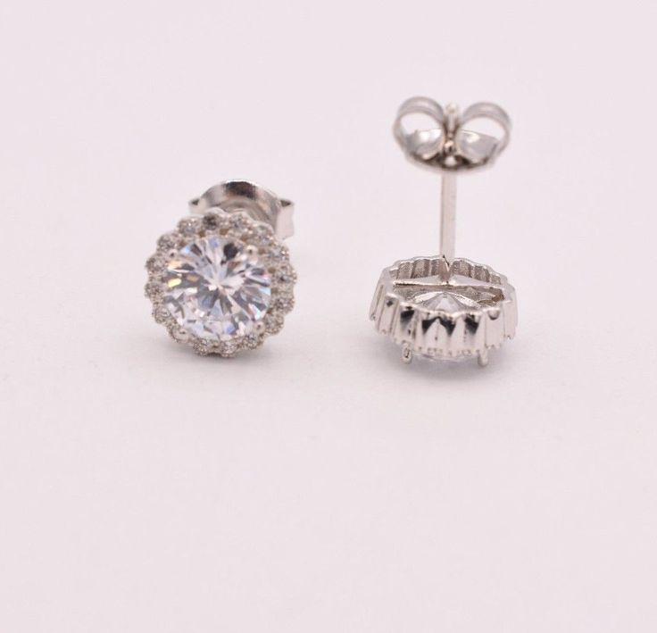 Cz Cubic Zirconia Stones 9Mm Round Halo Stud Earrings 925 Sterling Silver #StudEarrings