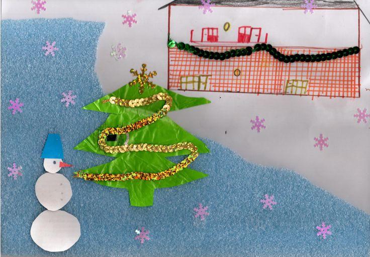 Климов Данил и Никита   Название рисунка: Вид заднего двора в предновгоднее время  Это не просто рисунок, а целая поделка  с объемным снегом и сверкающими снежинками. Украшенная елка горит огоньками и на доме сияют новогодние гирлянды