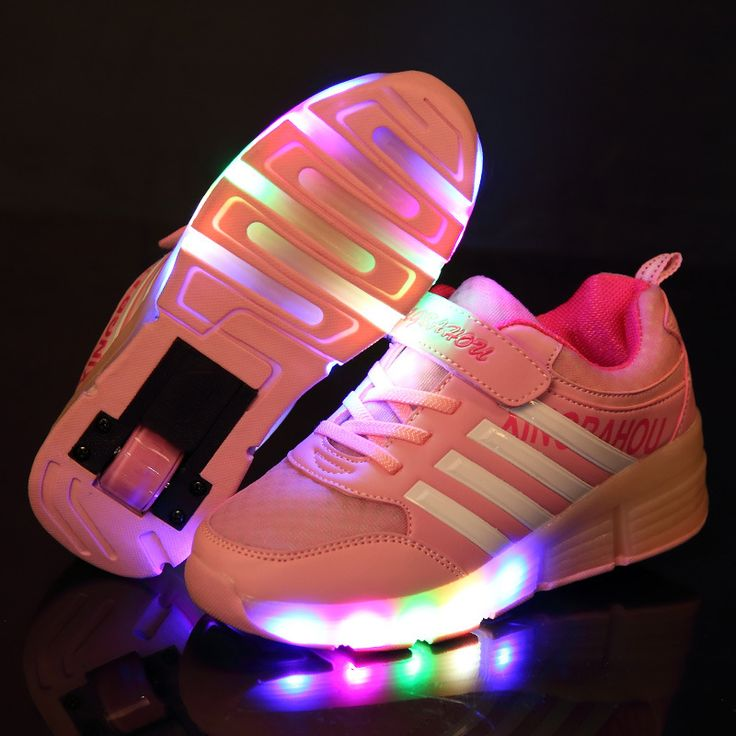 New Child Heelys Jazzy Junior Girls Boys LED Light Heelys Roller Skate Shoes For Children Kids Sneakers With Wheels♦️ SMS - F A S H I O N  http://www.sms.hr/products/new-child-heelys-jazzy-junior-girls-boys-led-light-heelys-roller-skate-shoes-for-children-kids-sneakers-with-wheels/ US $19.88