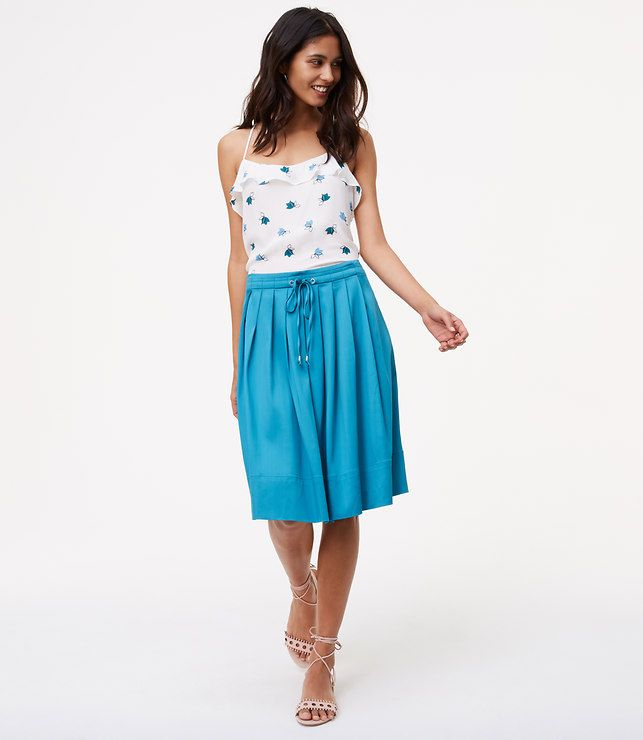 Pleated Drawstring Skirt