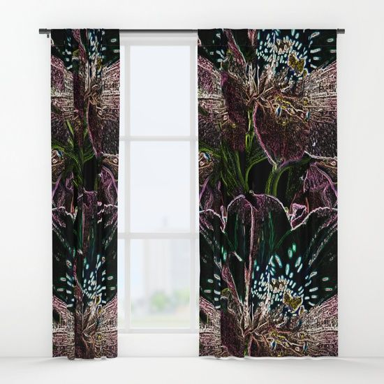 Tiger Lillies Curtains by Terrella.  A multicoloured artistic image of Tiger Lillies.