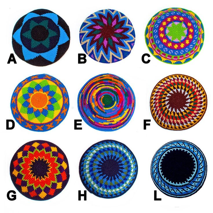 """This colorfulkippah/yarmulke, intricately crochetedby Mayan women in San Pablo la Laguna, is perfectfor bar and bat mitzvahs, weddings and other special ceremonies. Assorted patterns and colors. Handmade and fair trade. 100% cotton Approximately 6"""" diameter Discount pricing for quantities of 20 or more. Please contact us to order quantities of 20 or more. 20 - 49    $7.50 each 50 - 99    $7.00 each 100 - 199  $6.75 each 200 +     $6.50 each For very l..."""