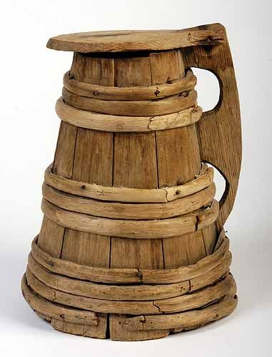 This oak and birch tankard is believed to have belonged to Mayflower passenger Peter Browne. It is on display at the Pilgrim Hall Museum in Plymouth.-10th great grandfather