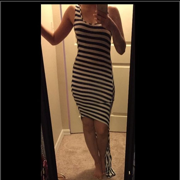 High/low dress/beachwear Blue and white stripes **not from listed brand*** American Apparel Dresses High Low
