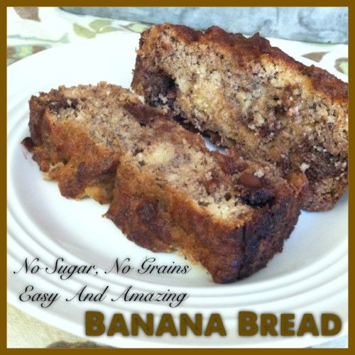 No Sugar, No Grains, Easy and Amazing Banana Bread   Healthy, gluten free, no added sugar and really yummy banana bread.  #paleo #glutenfree