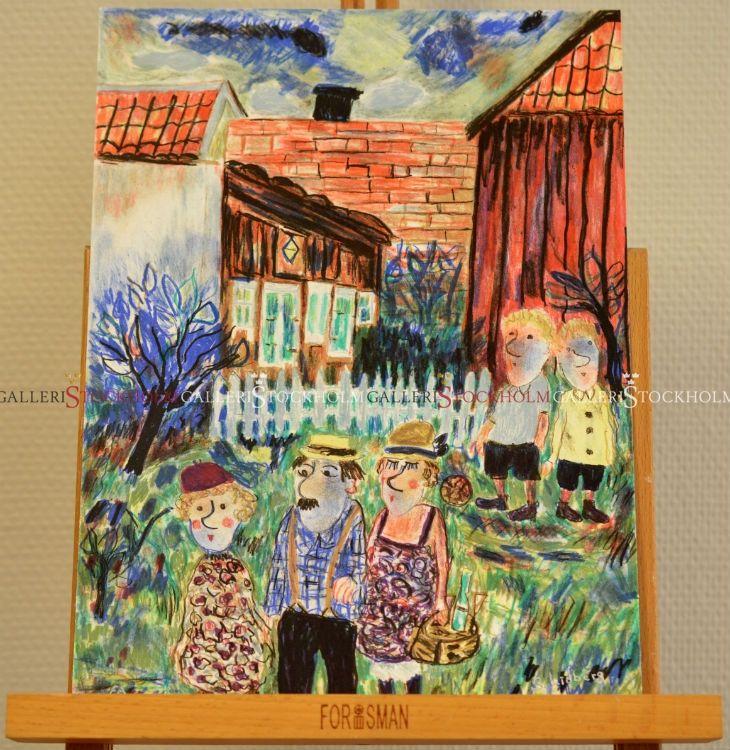 Sven Lidberg - Litografi - Familj i trädgården