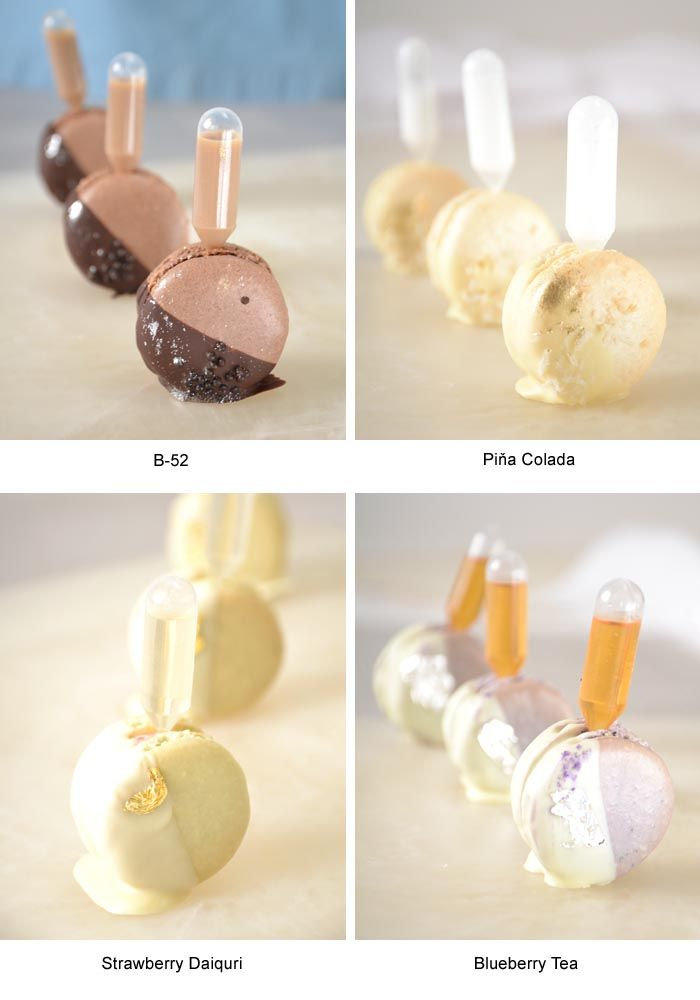 Blueberry Tea     Earl Grey macaron, blueberry buttercream, amaretto and Earl Grey pipette -