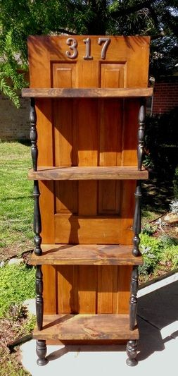 Shabby Chic Shelves from a reclaimed door and spindles. Cost for the door, spindles, and paint was $27.