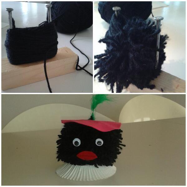 Zwarte Piet gemaakt van een pompoen. Pompoen mbv houtje met twee grote spijkers! Kraag van cupcake vorm. Muts van vilt. Idee van juf Sandra