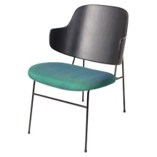 Hans Wegner Style Chair Danish Design Bentwood Back With Black Painted Iron Frame And Padded