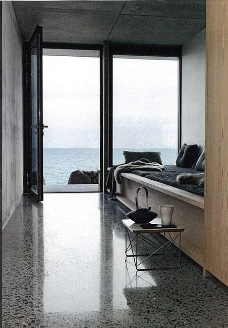 I love polished concrete floors. Gunther isn't sold on them though... Danish home in Elle Decoration Dec 2011.