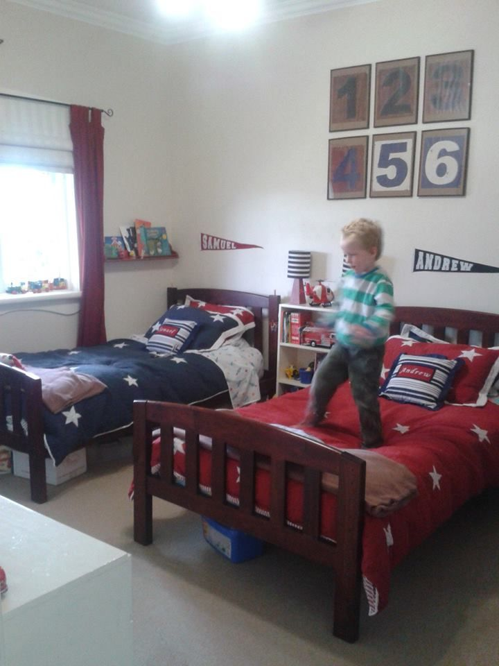 Boys double bed room. Adairs kids star quilt covers