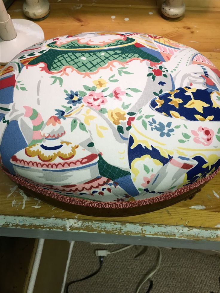 Finished with a cute teapot and coffeepot fabric.