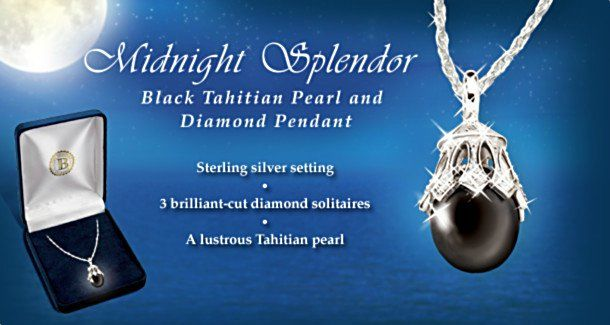 Black Tahitian Pearl and Diamond Sterling Silver Pendant Necklace Jewelry Gift For Her