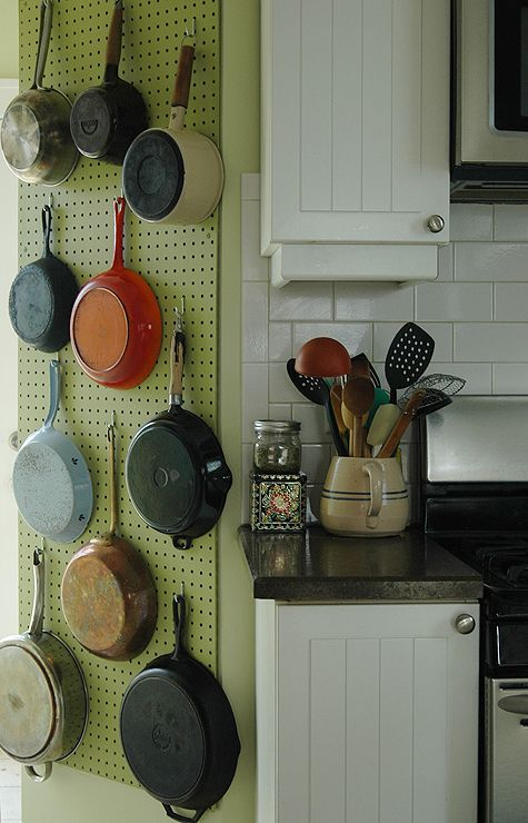 A Julia-Child-inspired pegboard pot rack, from KatySheCooks.: Pots Racks, Julia Child, Cast Irons Pan, Small Kitchens, Pegboard Pots, Peg Boards, Sewing Rooms, Small Spaces, Hanging Pots