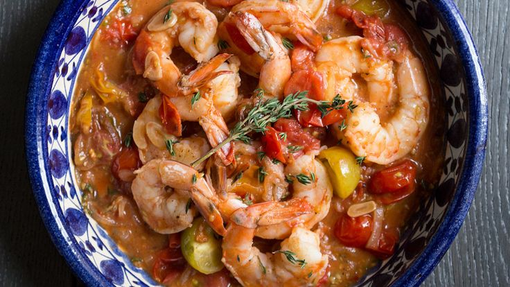 Try the recipe for Garlicky Shrimp with Tomatoes and White Wine.
