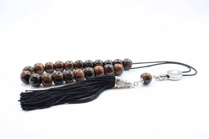 Brown - Black Obsidian Komboloi, Worry Beads, Handmade Tassel, Greek Komboloi, Obsidian, Stress Relief, Gift for Him, Made in Greece, Tesbih