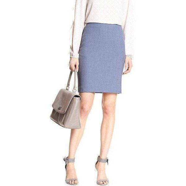 Banana Republic Women Chambray Pencil Skirt (175 ILS) ❤ liked on Polyvore featuring skirts, petite skirts, knee length pencil skirt, banana republic skirts, pencil skirt and petite pencil skirt