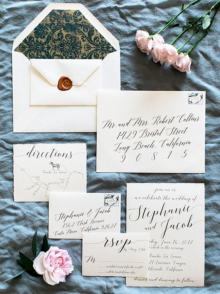 what to include in diy wedding invitations%0A Calligraphy wedding invitations   Photo by Dennis Roy Coronel   See more on  thesocalbride com