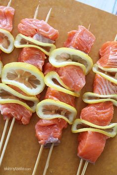 Grilled Salmon Kebabs | Skinnytaste    ALLDAY ENERGY - Heart healthy energy for Athletes!  http://alldayenergy.net
