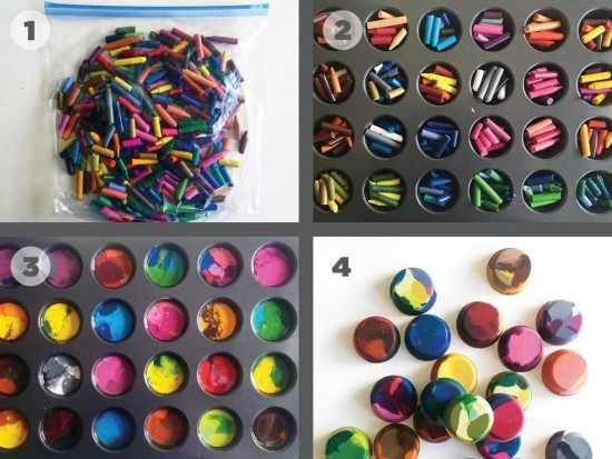 Wondering what to do with all those tiny leftover crayon ends? Turn them into these handy Molded Crayons! The kids will love them and they would make wonderful party bag fillers!  Tutorial via 'Homemade by Jill' click here >> Molded Crayons Tutorial Melted Crayons via 'Cub Foods' – 1. Take the paper off old crayons 2. Place crayons in …