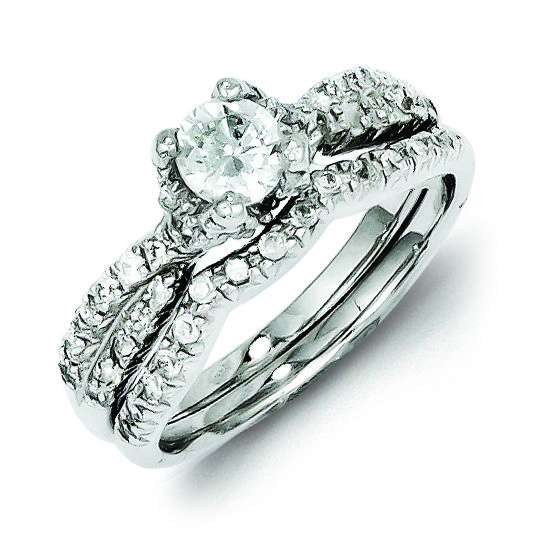 Sterling Silver 2 Piece CZ Wedding Set Ring