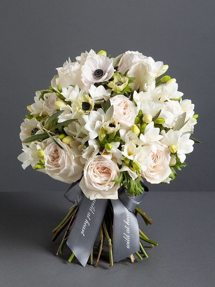 Winter Garden Bouquet - This beautiful bouquet is a delicate mix of white anemones, roses and freesia. From £75, wildatheart.com