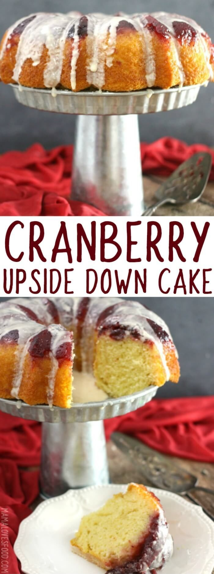 LOVED THIS ONE!  AND SO PRETTY!  - This Easy Cranberry Upside Down Cake is only two basic ingredients and is a beautiful and simple recipe for your holiday dinner menu.