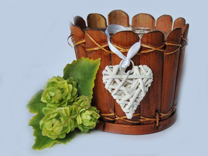 Serce Wiklinowe Serduszko 5 cm Bielone