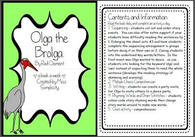 Olga the Brolga by Rod Clement ~ A week of reading activities from Miss Simplicity's Store on TeachersNotebook.com (17 pages)