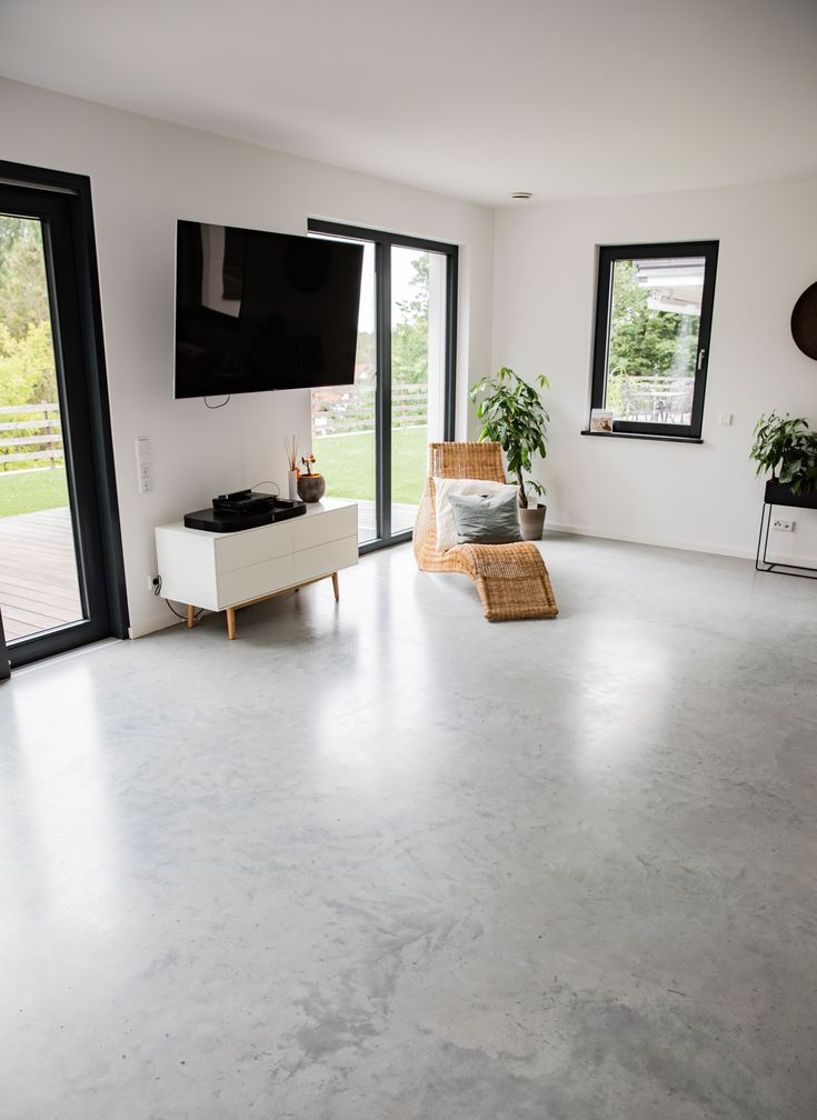 Wohnzimmer Sichtestrich Betonboden Designboden | Sichtestrich