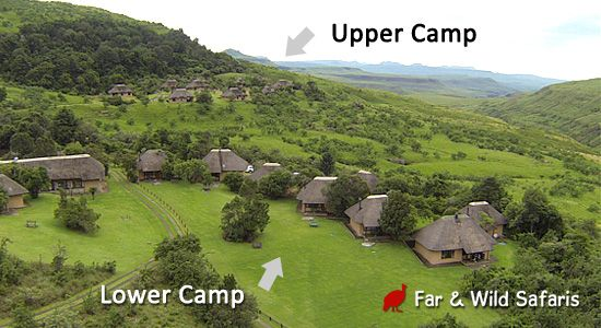 View of Thendele Camp, showing Upper Camp and Lower Camp located in Royal Natal Park, Northern Drakensberg. Self catering chalets and cottages