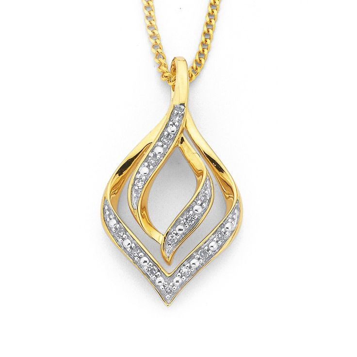 9ct, Diamond Teardrop Pendant - Pascoes The Jewellers