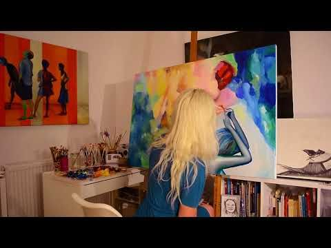 """Step by step, speed oil painting of """"To Bid You Farewell"""" by Oana Unciul..."""