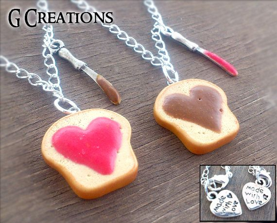 BFF Chocolate & Jelly Best Friend Necklace Set on SALE - Strawberry Jam - Choco and J Heart Sisters Polymer Pendant Dollhouse Sweet Jewelry