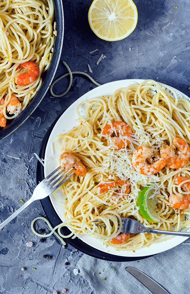 This Old Bay shrimp scampi is a Chesapeake-inspired version of the classic Italian dish - with a lactose and dairy free option.