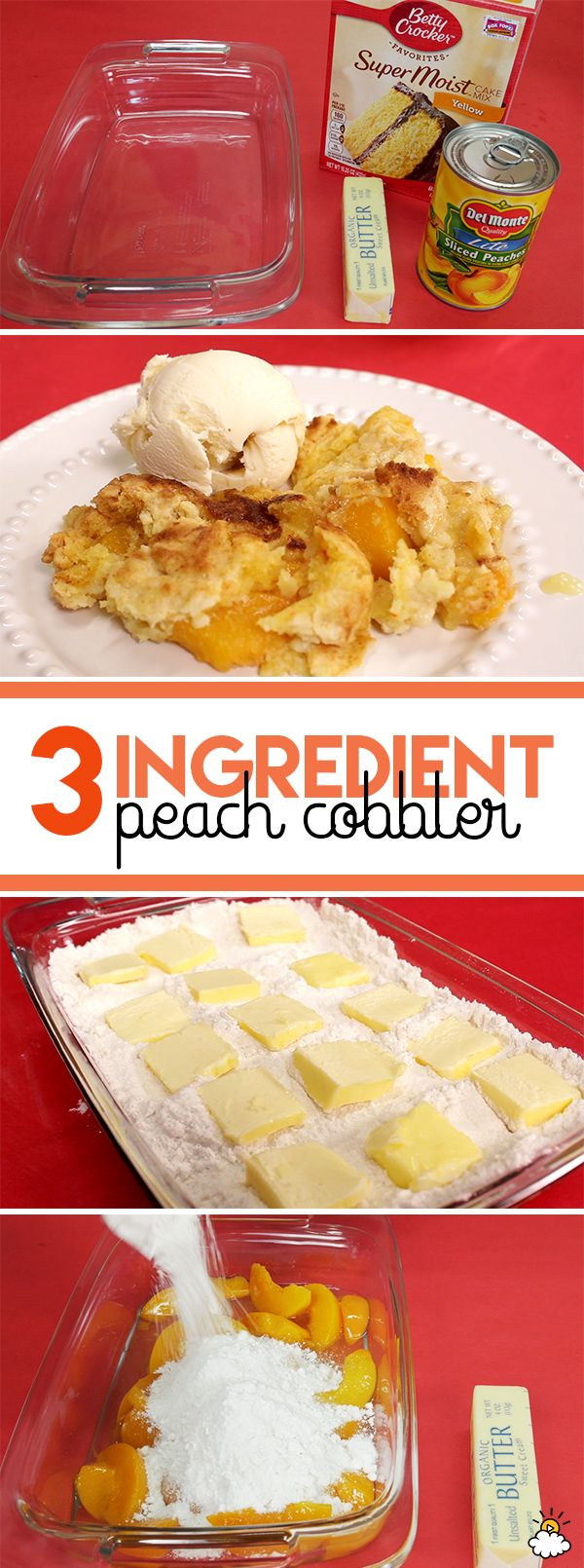 Learn how to make delicious 3-ingredient peach cobbler with just cake mix, canned peaches in syrup, and some butter. ##hisspecialty