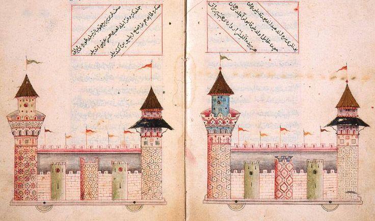 The paper fortresses of Matrakçi depicted in his book Tuhfat al-Ghuzat (Süleymaniye Library, Esad Efendi, MS 2206).