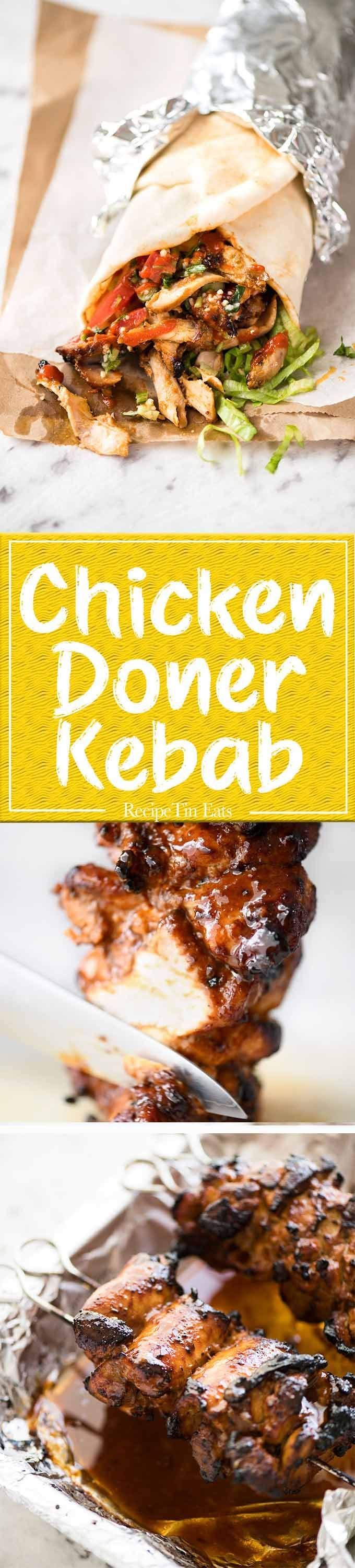 Homemade Chicken Doner Kebab - the better version of the midnight post-pub kebab runs!
