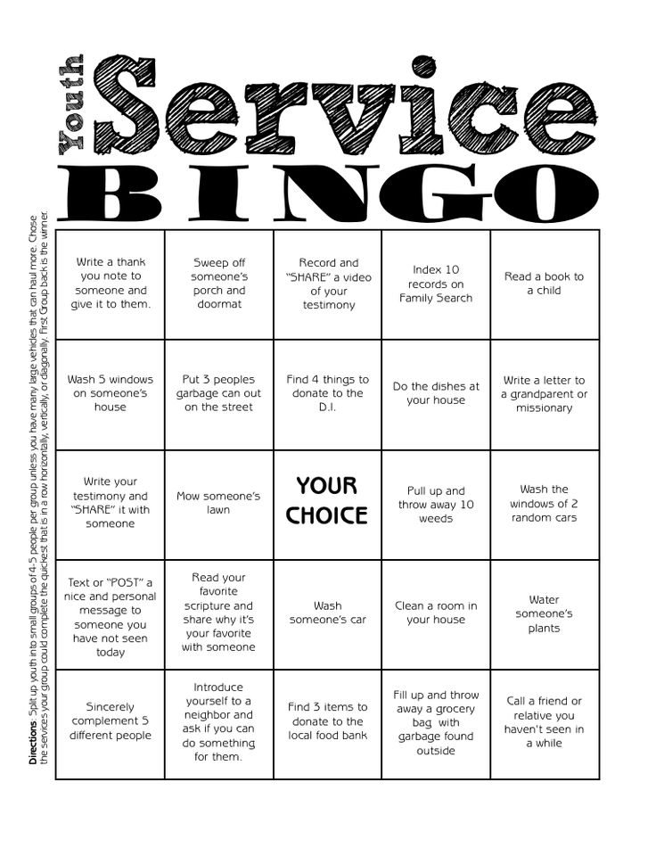 Youth Service Bingo