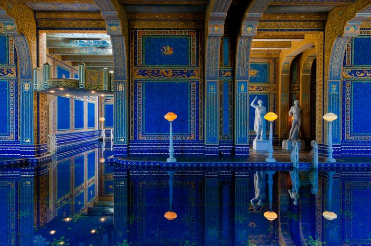 """enochliew: """" Hearst Castle by Julia Morgan The indoor mosaic-tiled pool is inspired by Roman baths. """" WOW"""