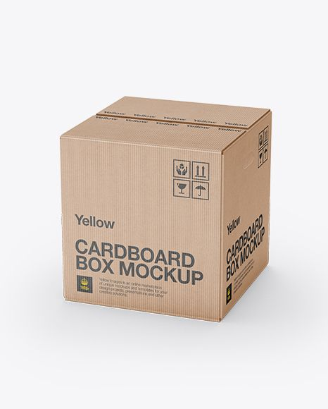 Corrugated Fiberboard Box Mockup - 70° Angle Front View (High-Angle Shot). Preview
