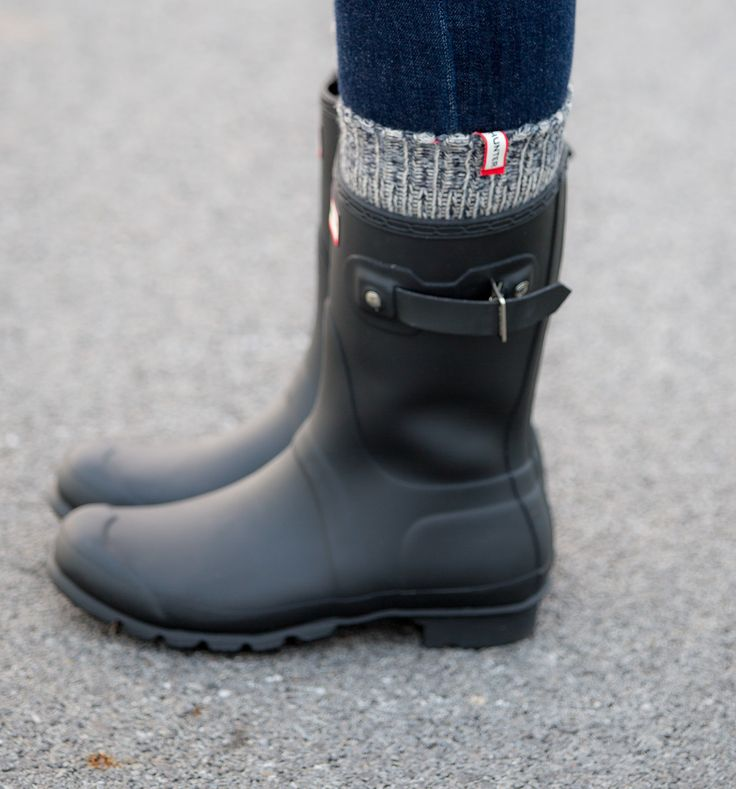 Hunter Boots for winter with socks for extra warmth!