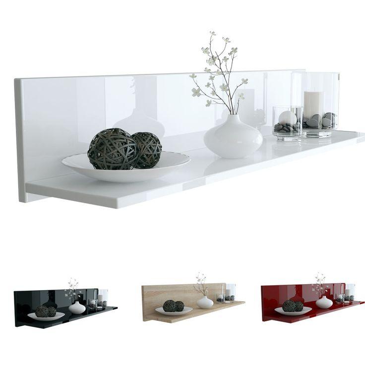 Shelf Wall Mounted Wooden Shelf Skadu   High Gloss U0026 Natural Tones
