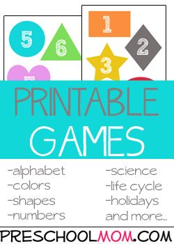Printable Games for Preschool Free printable file folder games for preschoolers!  Children love to play ready to go colorful games they won't even know they are learning.Free Preschool Printables at Preschool Mom