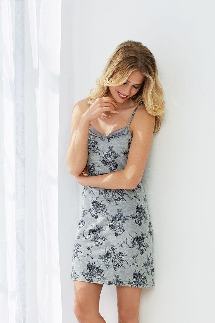 Pastunette Deluxe romantic rose blossom grey spaghetti dress with adjustable straps