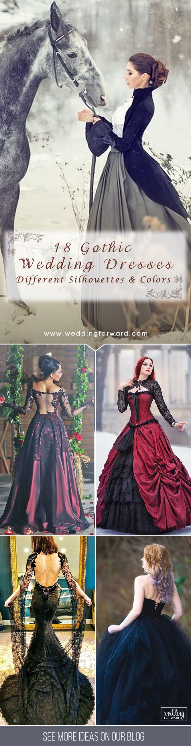 18 Gothic Wedding Dresses: Challenging Traditions ❤ You are wrong if sure that Gothic wedding dresses are only black. Check out these dark romance bridal gowns in different silhouettes and colors. See more: http://www.weddingforward.com/gothic-wedding-dresses/ #wedding #dresses #gothic