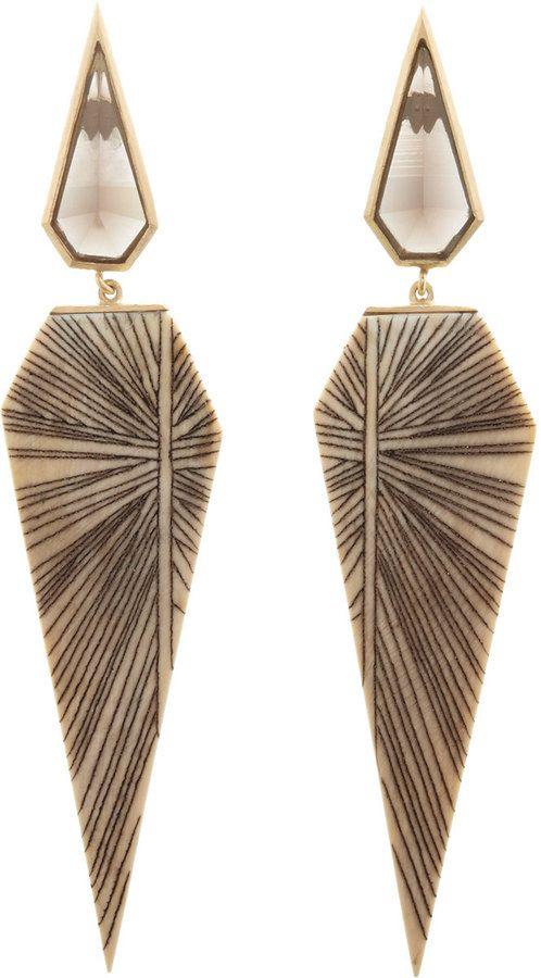 Monique Péan Woolly Mammoth & Smoky Topaz Earrings